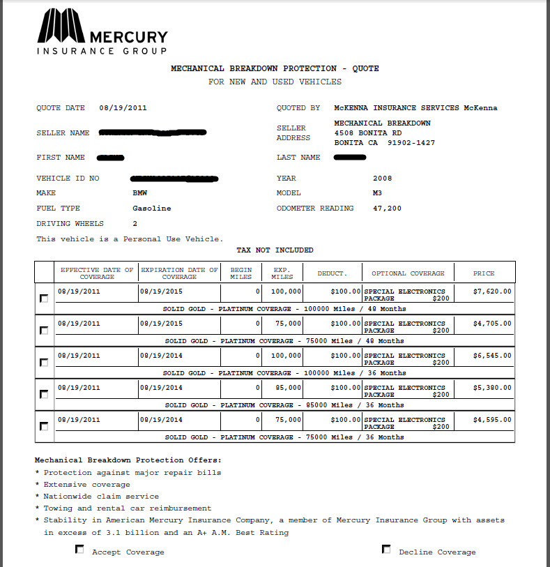 Bmw Extended Warranty >> Here Is The Extended Warranty Quote I Received Bmw M3