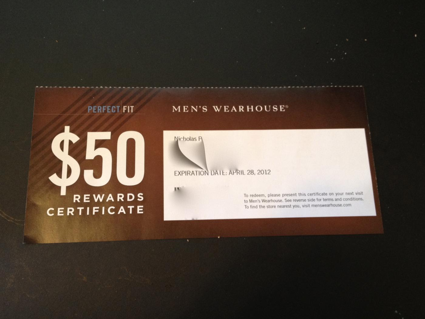 Fs 50 mens wearhouse rewards certificate attached images xflitez Choice Image
